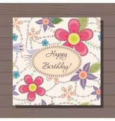Birthday card with flowers vintage on wooden vector image vector image