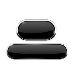 Black buttons oval icons with metal frame vector