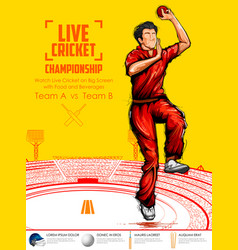 Bowler bowling in cricket championship sports vector