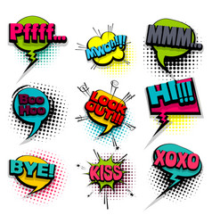 Bye hi kiss set colored comics book balloon vector