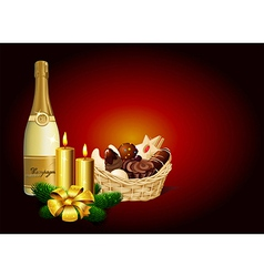 Christmas still life - Christmas cookie champagne vector image vector image