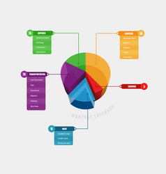 colorful 3d chart info graphic with title menu vector image