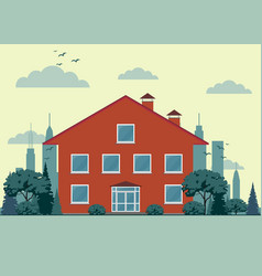 Country cottage front of the house and garden vector
