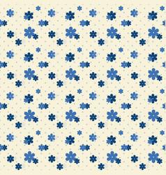 Cute indigo flower with dot seamless pattern vector
