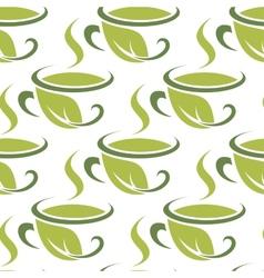Fresh green herbal tea seamless pattern vector