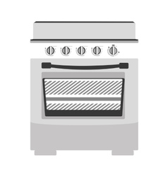 gray scale silhouette stove with with oven vector image
