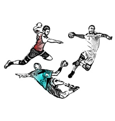 Handball players vector