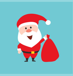 Happy santa claus character holds the christmas vector
