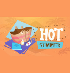 Hot summer vacation sea travel retro banner vector