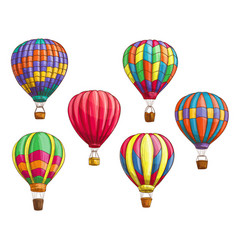 Icons of hot air balloons sketch pattern vector