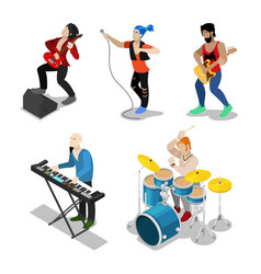 isometric rock musicians with singer guitarist vector image vector image
