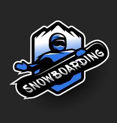 Jumping snowboarder sport logo vector