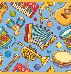 musical instrument seamless pattern cartoon style vector image