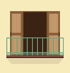 Open doors with balcony vintage style vector