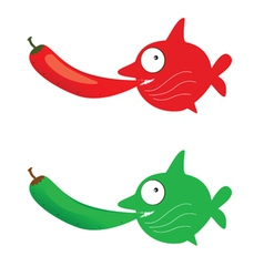 red and green fish with chillies vector image