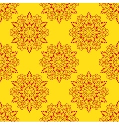 Red Seamless Mandala Pattern over yellow vector image vector image