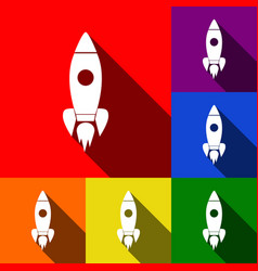 rocket sign set of icons vector image