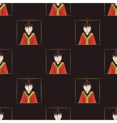 seamless pattern with boys of Japan vector image