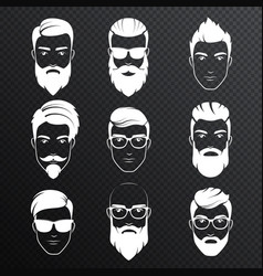 Set of bearded hipster men faces on the vector