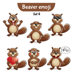 Set of cute beaver characters set 4 vector