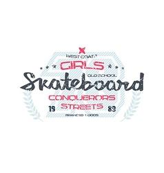 Skateboard typographic emblem vector image vector image