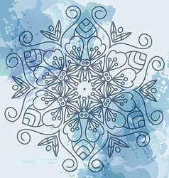 Watercolor background blue mandala vector