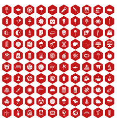100 moon icons hexagon red vector