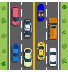 Highway traffic with top view cars vector