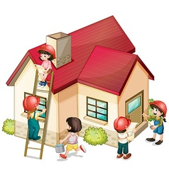 Many children constructing the house vector