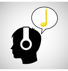 Head silhouette listening music black note vector