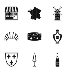 France icons set simple style vector