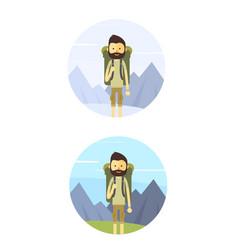 flat cartoon hiking man vector image
