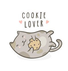 Cute kitty with cookie vector