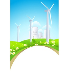 Green landscape with windmills and nuclear power p vector