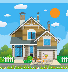 Cute white private house with bicycle vector