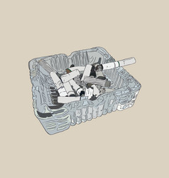 ashtray and smoked cigarettes sketch vector image