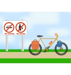 Bicycle on road bicycle tourism sport vector