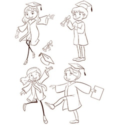 A plain sketch of a graduation ceremony vector