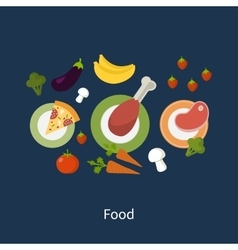 Set of flat design concept icons for food and vector image