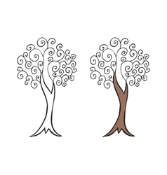 Doodling hand drawn amazing tree with curls vector