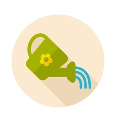 Watering can flat icon with long shadow vector