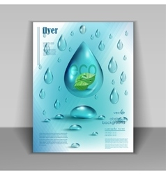 Booklet with drops of pure water vector