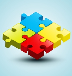 Colorful 3d puzzle vector