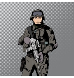 Military comics man vector