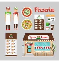 Pizza cafe front design icons set vector