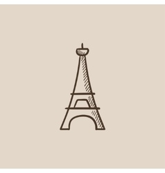 Eiffel tower sketch icon vector