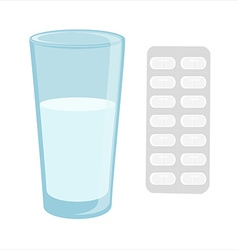 Glass with water and pills vector