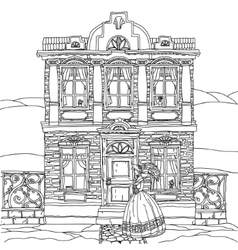 Black and white of a house vector