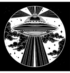 Alien spaceship ufo in the sky vector
