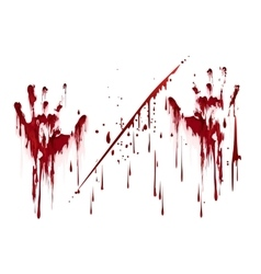 Bloody hand prints with blood drops vector